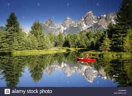 grand teton national park kayaking in grand teton national park wyoming model released stock