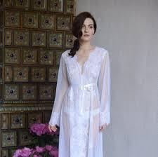honeymoon sleepwear lace trimmed tulle bridal robe f14 by apilat on zibbet