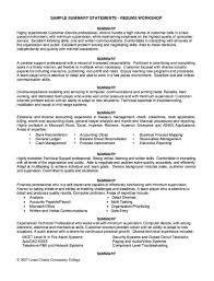Summary Of Skills Examples For Resume by Sample Summary Statements Resume Workshop Http Resumesdesign
