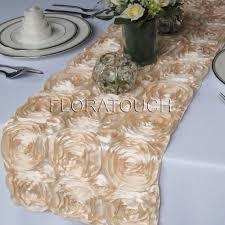 pink rosette table runner chagne satin ribbon rosette table runner wedding table