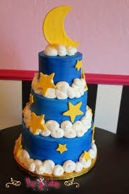 birthday cake boy baby shower clouds stars moon crescent blue
