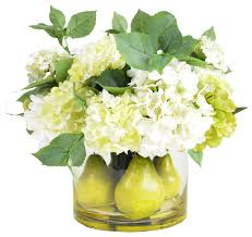 Fake Flower Centerpieces by Pear And Hydrangea Centerpiece Arrangement Contemporary