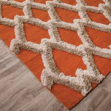 Orange And Brown Area Rugs Modern Geometric Feathers Pattern Wool Area Rug Orange 2 U0027l X 3