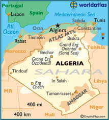 algeria physical map physical road map of algeria