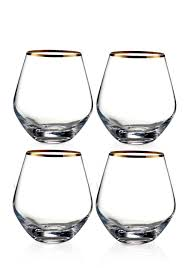 fitz and floyd michel gold rim stemless wine glasses set of 4 belk