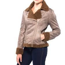 biker coat alpine swiss womens faux shearling jacket fashion biker coat