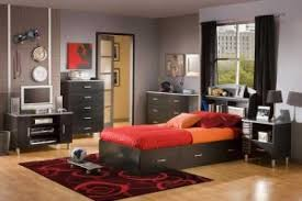 simple teen boy bedroom idea with carpet red color bedroom