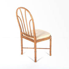 set 8 faux bamboo dining chairs with new upholstered seats at
