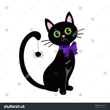 halloween background black cat cute black cat isolated on white stock illustration 439313152