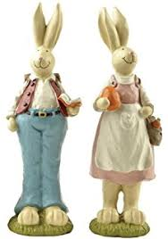 rabbit home decor amazon com bunnies with easter eggs decorative centerpiece home