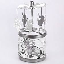 carousel rotary candle holder silver