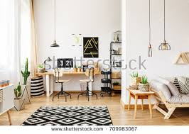 Room With Desk Spacious White Room Pattern Carpet Sofa Stock Photo 530280598