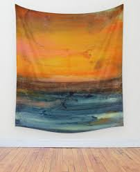 abstract wall orange and blue wall tapestry large abstract wall decor