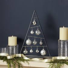 silver ornament tree with set of silver ornaments crate and barrel
