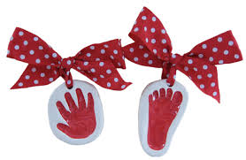 baby handprint kit ornaments in ceramic clay exquisite detail