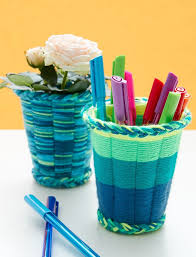 easy yarn crafts for kids cup weaving tutorial favecrafts