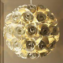 Paper Light Fixtures White Roses Paper Chandelier Handmade Flower Ceiling Lampshade
