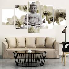 5 piece canvas art new orchid background buddha painting fengshui
