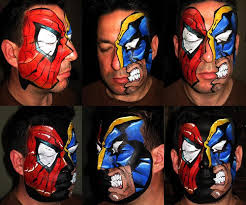 marvel spiderman wolverine face painting art faces spiderman