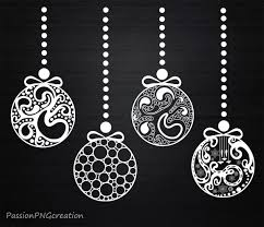 Black And White Christmas Decorations Clipart by Christmas Ornaments Clipart Decorations Xmas Vintage
