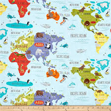 World Map North America by Moda Hello World Map Sky Discount Designer Fabric Fabric Com