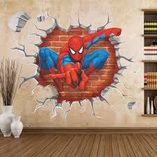 decorative 3d wall panels for unusual wall decor 2017 kids room interior with 3d wall stickers of spiderman