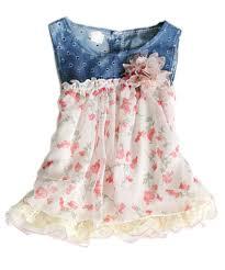 toddler baby dress denim chiffon flower dress