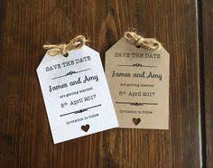 Rustic Save The Date Magnets Wedding Save The Date Homemade Clay Heart And Letterpresed Tag