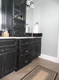 Stained Kitchen Cabinets by Vintage Onyx Distressed Finish Kitchen Cabinets Bath Black Stained