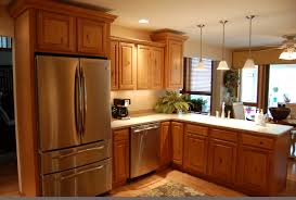 Black Kitchen Cabinets With Stainless Steel Appliances Brown Wooden Kitchen Cabinet With White Countertops Connected By