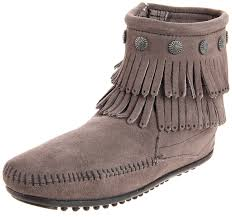 womens boots grey leather minnetonka fringe side zip boot womens boots grey 7 uk