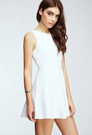 fit and flare dress forever 21 forever 21 cutout back fit flare dress in white lyst