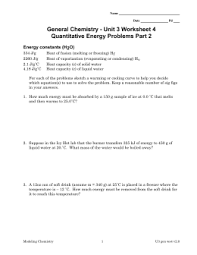 General Chemistry   Unit   Worksheet   Energy constants  H O  studylib net   Essys  homework help  flashcards  research papers