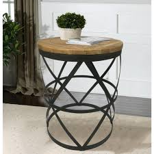 Barn Wood Sofa Table by Industrial Reclaimed Wood Round End Table Dmt 086 The Home Depot
