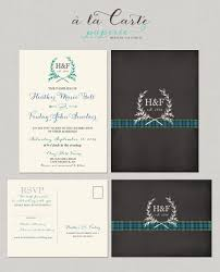 scottish tartan chalkboard wedding invitation rsvp set