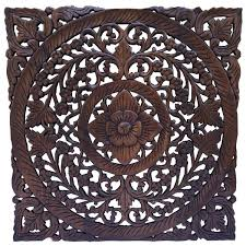 Decorative Wall Art by Oriental Home Decor Large Floral Wood Wall Hanging Wood Carving