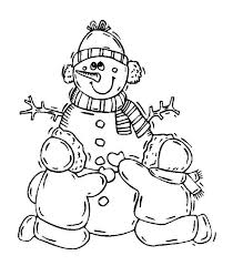 couple childrens making lovely snowman coloring