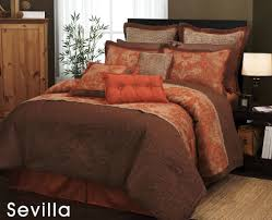 Orange King Size Duvet Covers Amazon Com 7 Pieces Traditional Orange And Brown Jacquard Floral
