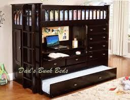 Bunk Beds With Built In Desk Wood Loft Bed W 4 Drawer Chest Storage Closet Desk