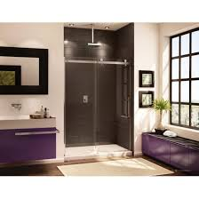Fleurco Shower Door Novara In Line 57 1 4 To 58 5 8 Inch Shower Door And Panel Brushed