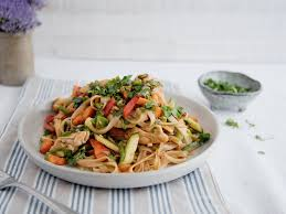 asian spiced chicken and rice noodle salad recipes kitchen stories