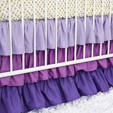 purple u0026 gold dot ruffle baby bedding caden lane