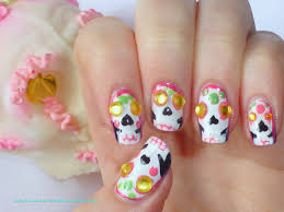 a and her chicken named betty cinco de mayo sugar skull nail art