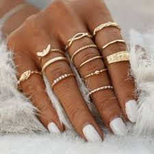 girl finger rings images Kilimall 12 pc set ring jewelry charm gold color finger ring set jpg
