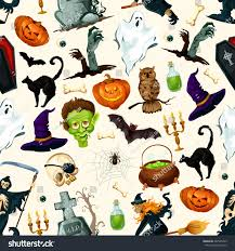 halloween holiday cartoon horror seamless pattern stock vector