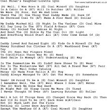 country music coal miner u0027s daughter loretta lynn lyrics and chords