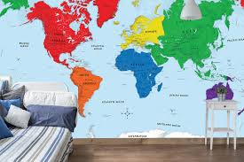 Antarctica World Map by Early Learning Kids Room World Map Wall Mural