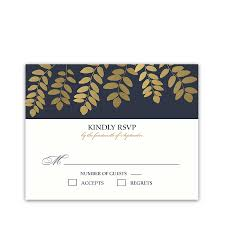 Wedding Reply Cards Wedding Rsvp Response Cards Navy Blue With Gold Leaves