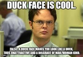 Duck Face Meme - dwight schrute meme imgflip