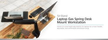 sit stand laptop gas spring desk mount workstation monoprice com